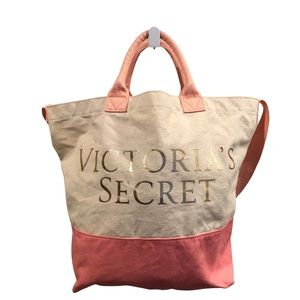 Victoria's Secret Large Pink and Cream Tote Bag